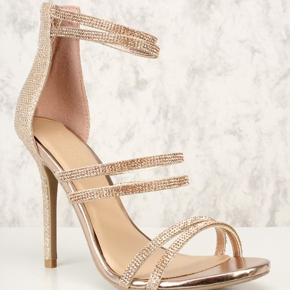 be285695d813 Sexy Rose Gold Rhinestone Open Toe High Heel